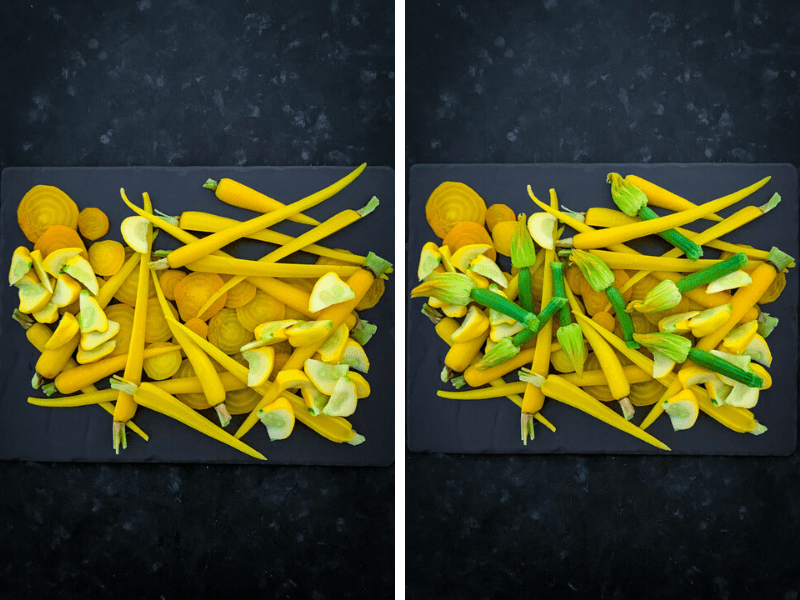 Zucchini Flower Salad with Golden Beets