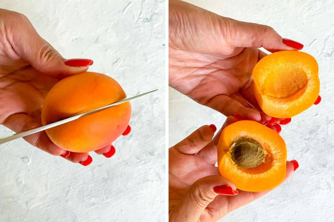 How to remove pit from apricot