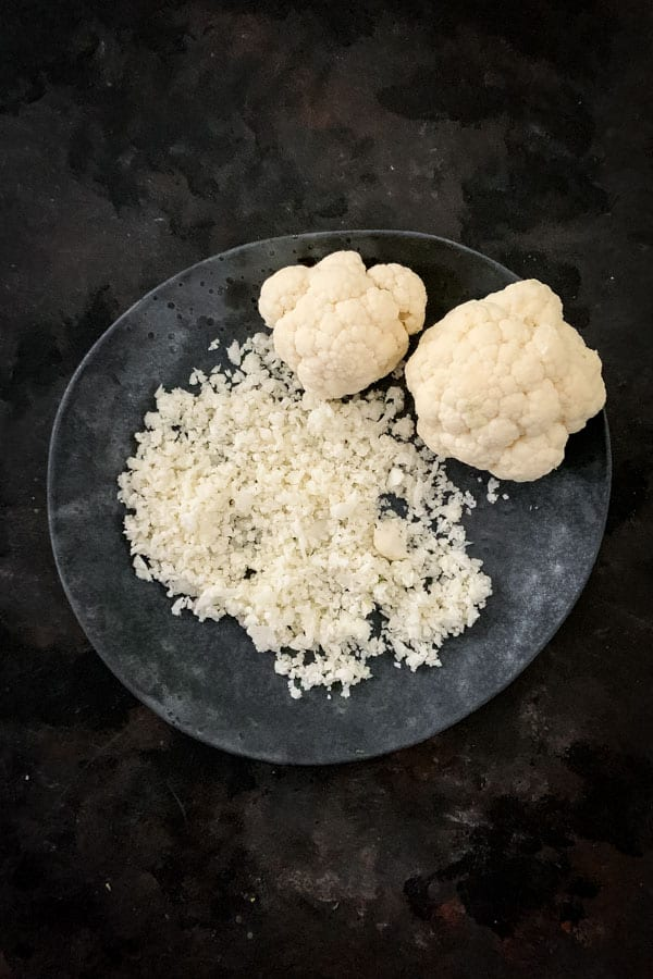 Cauliflower rice and cauliflower florets