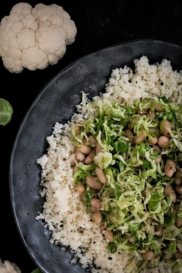 Cauliflower Rice Salad with Rosemary White Beans