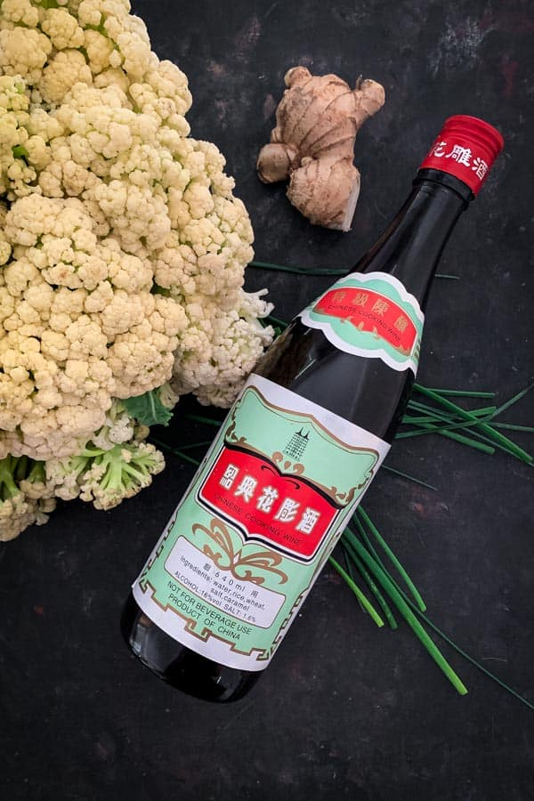 Chinese cooking wine with ginger and Chinese cauliflower