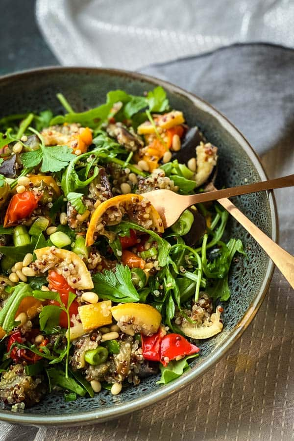 Tricolour Quinoa Salad with Roast Vegetables