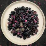 Black Fruit Salad with Tea Rose Syrup