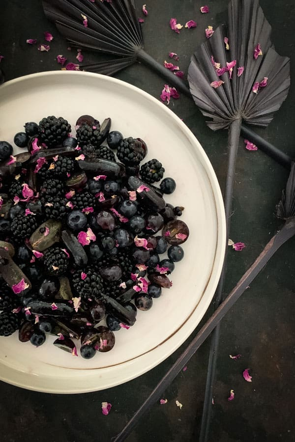 Black Fruit Salad with Tea Rose Syrup