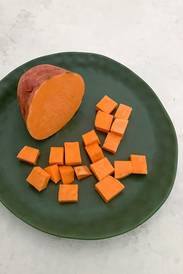 Sweet potato. Half and cubed.