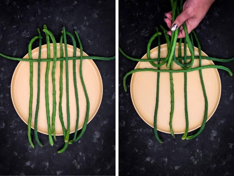 How to Make Snake Beans Latticework Step 2 of 4.