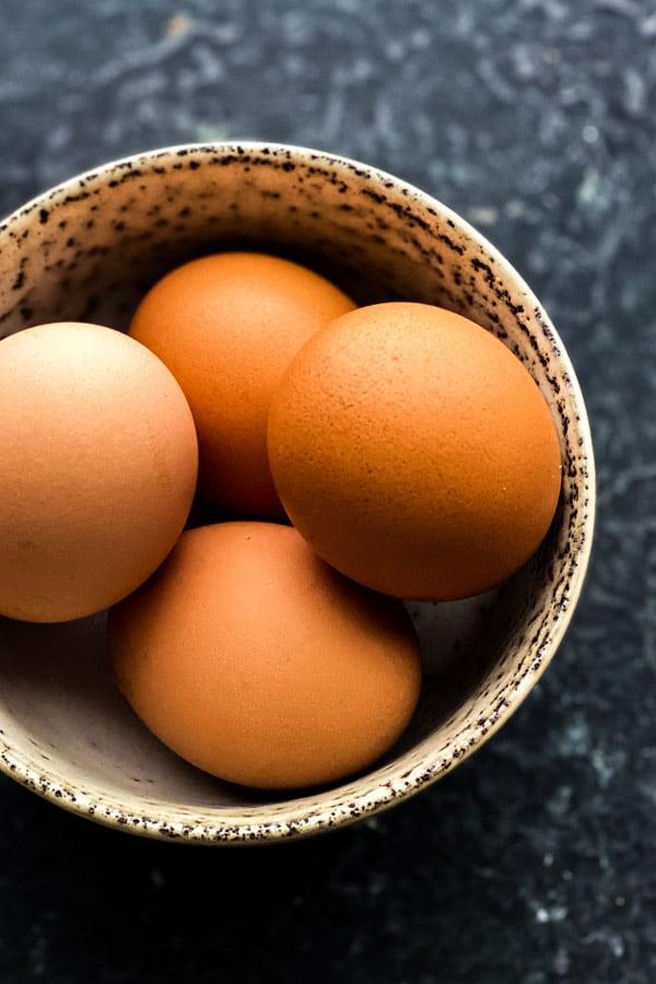 Whole soft boiled eggs