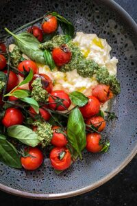 Charred Truss Tomato Salad with Stracciatella