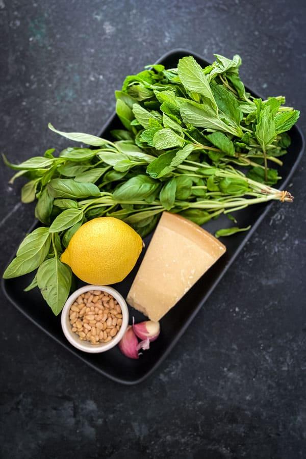 Basil, mint, pinenuts, lemon, parmesan and shallots
