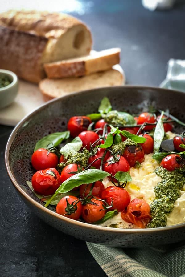 Charred Truss Tomato Salad with Stracciatella