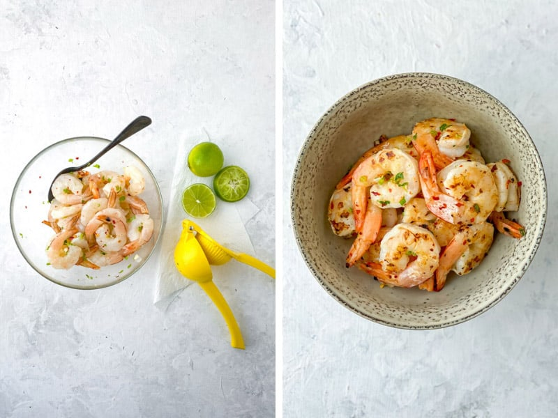 Marinating Prawns or shrimp with Gin and Lime