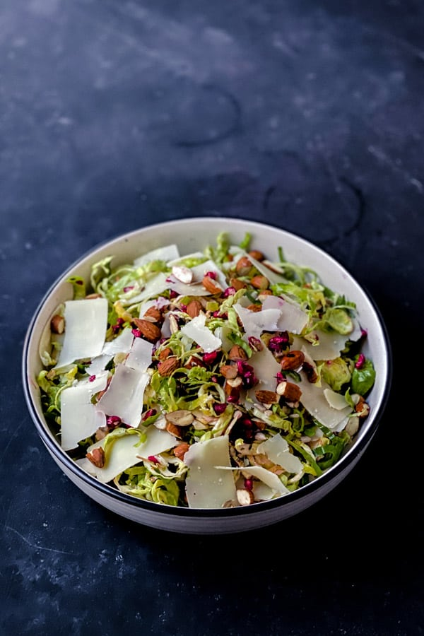 Keto Brussels Sprouts Salad with Shaved Parmesan