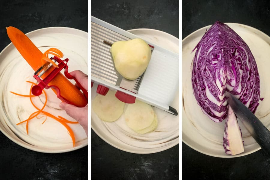 How to shred caroots, slice pears with a mandolin and cut the core of a cabbage
