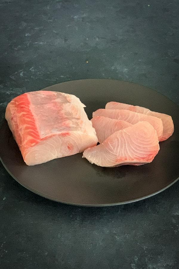 Fresh kingfish fillet and sashimi