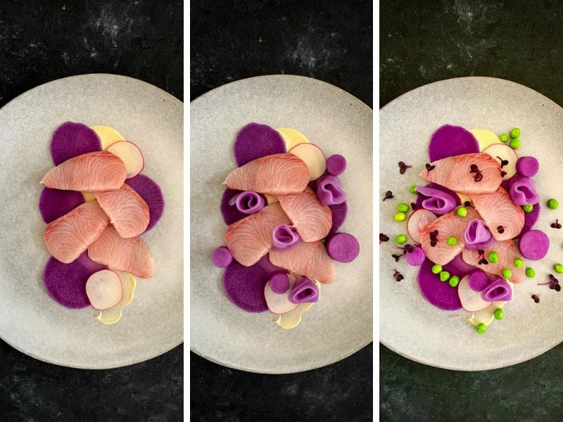 How to plate Kingfish Sashimi Salad Step 2 of 2