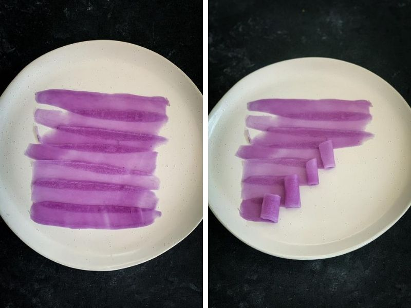 Strips of purple daikon ready to be rolled