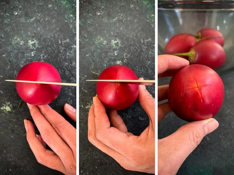 How to peel tamarillo