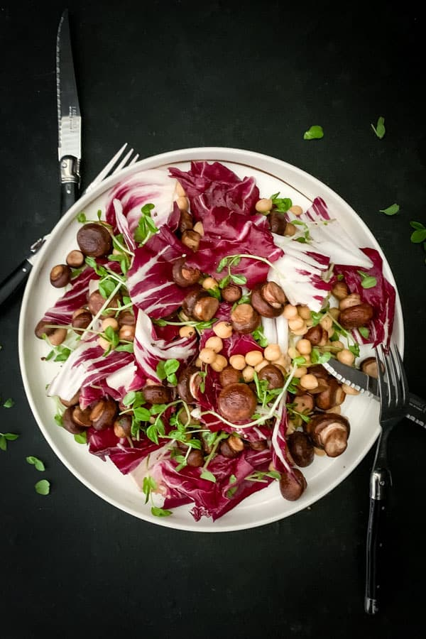 Swiss Brown Mushroom Salad with Chickpeas