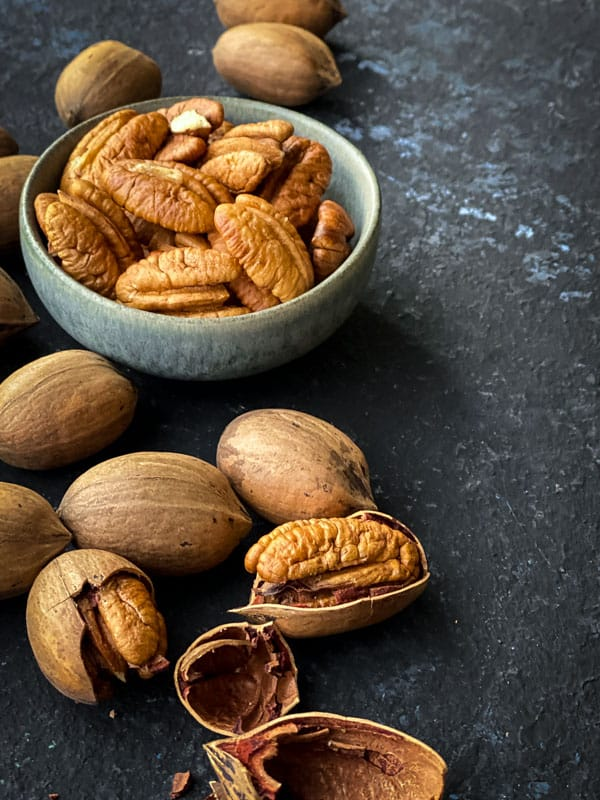 whole, cracked and peeled pecans