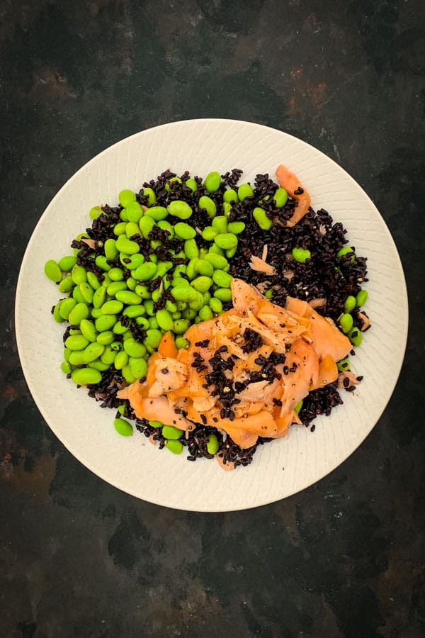 Forbidden Rice Salad and Miso Baked Salmon
