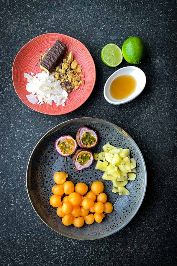 Rockmelon and Passionfruit Salad with Chocolate Honeycomb