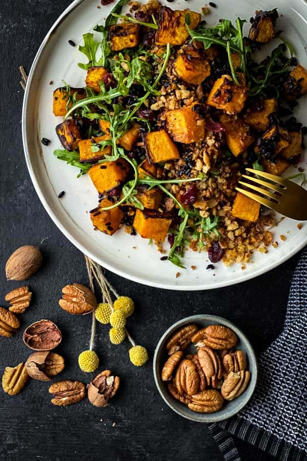 Vegan Pumpkin Salad with Toasted Pecans