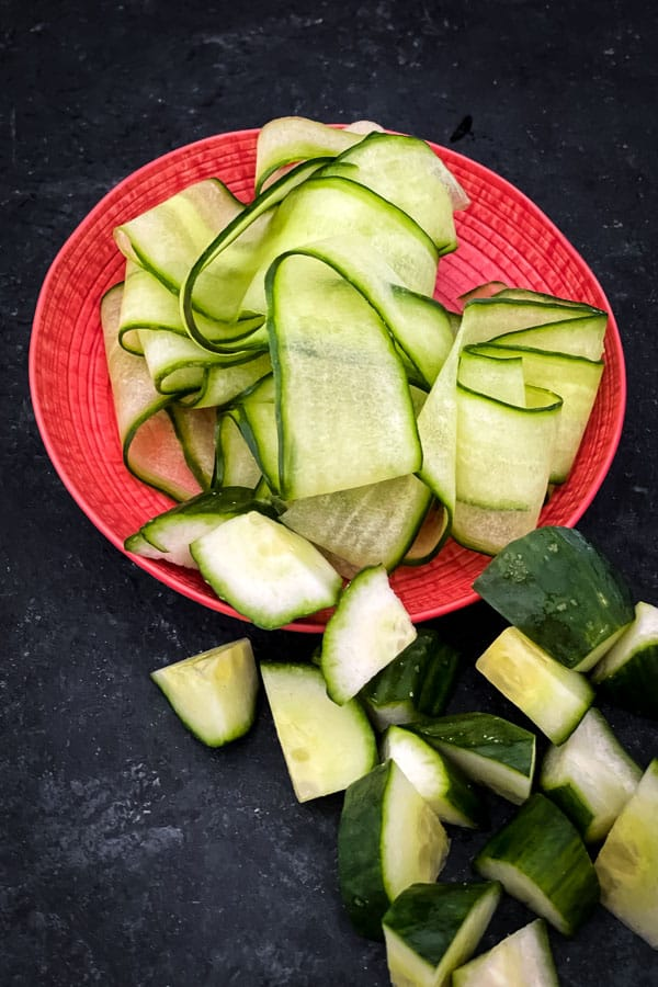 Shaved and chopped cucumber
