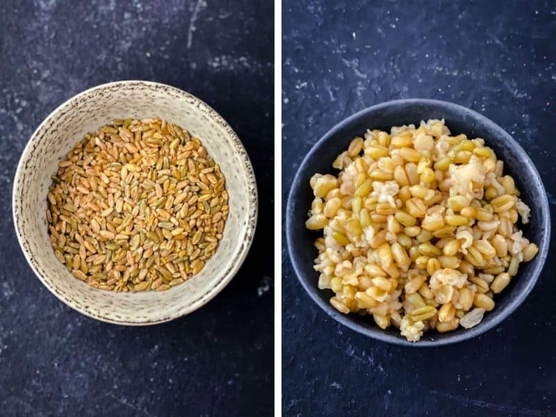 Uncooked and cooked freekeh