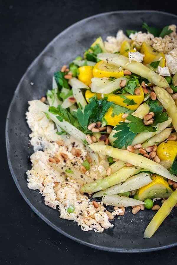 White Asparagus Salad with Persian Fetta with Chilli