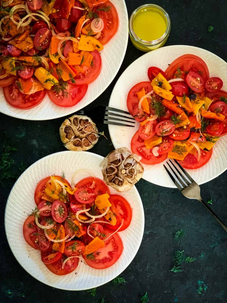Baby Bell Peppers Salad with Roasted Garlic