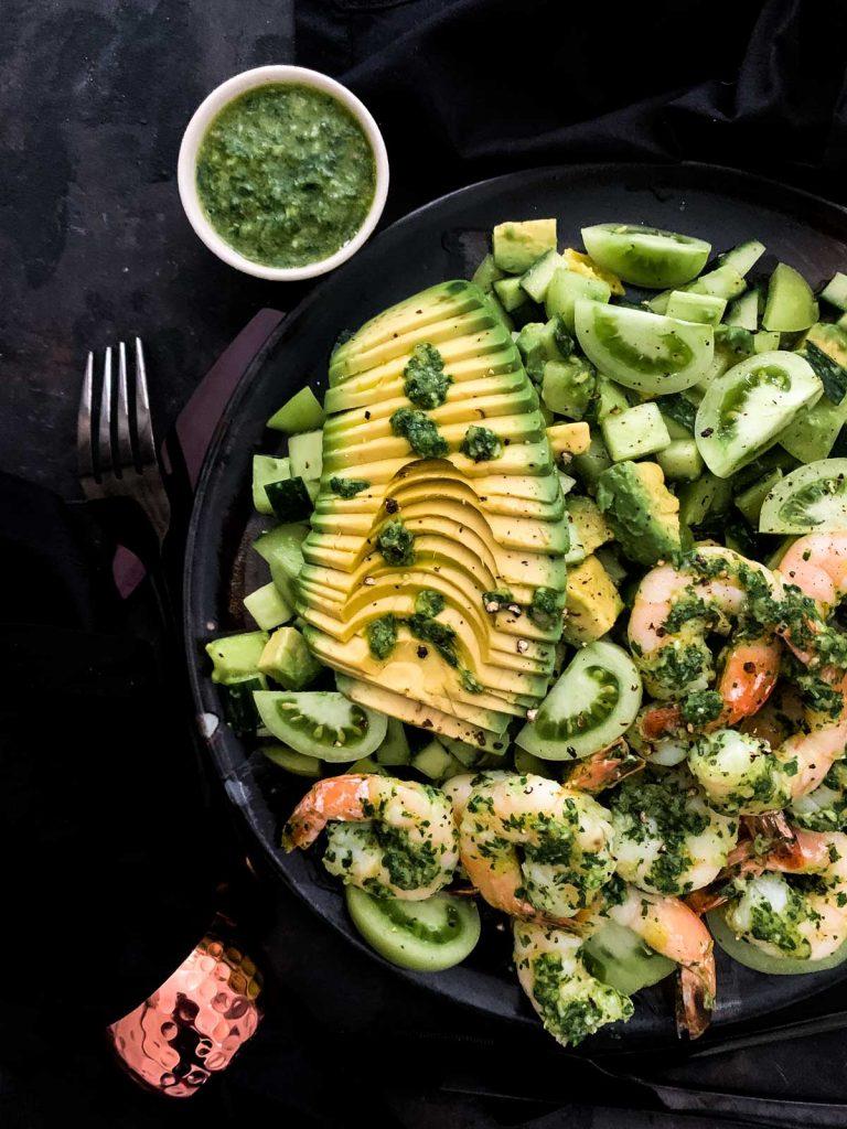 Cilantro Chimichurri Prawn Salad