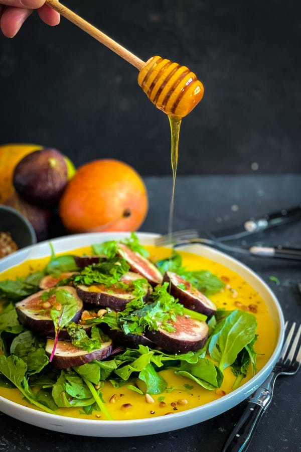 Honeyed Fig Salad in Mango Puree