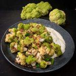 Roasted Green Cauliflower Salad with Feta Dressing