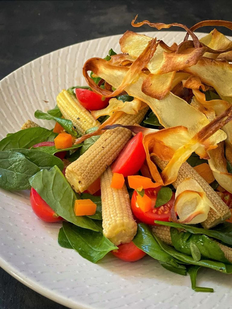 Baby Corn Salad with Crisp Parsnip Ribbons