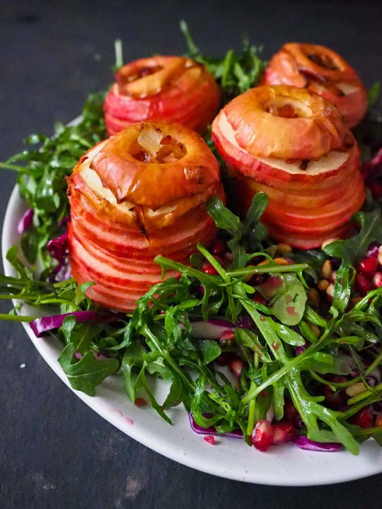 Whole Baked Apple Arugula Salad