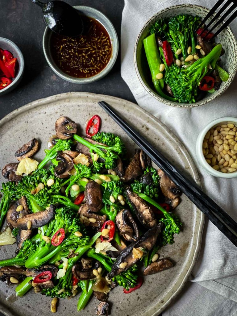 Broccolini Salad with Mushrooms