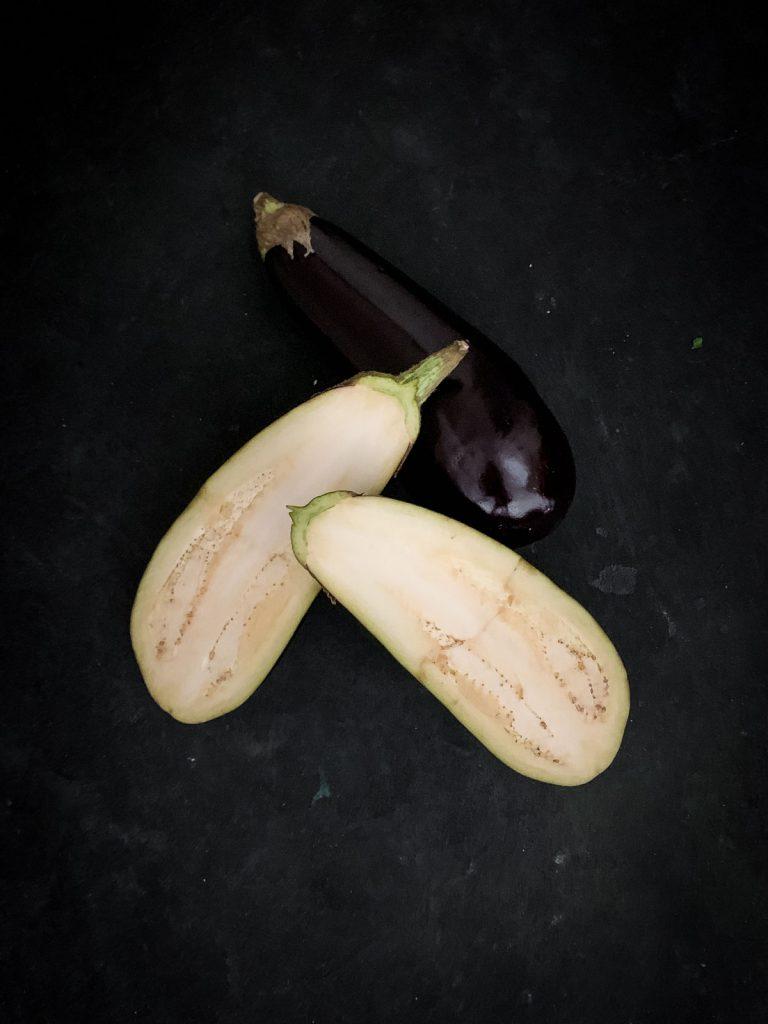 Half and whole globe eggplant