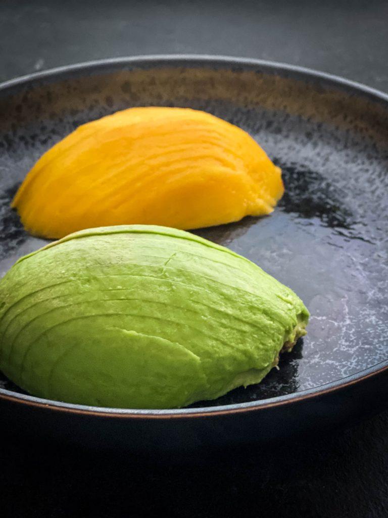 Sliced avocado and mango