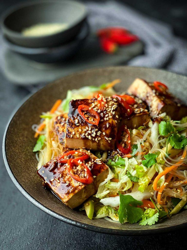 Glass Noodle Salad with Sticky Tofu