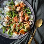 Spicy Roasted Broccoli Cauliflower Salad