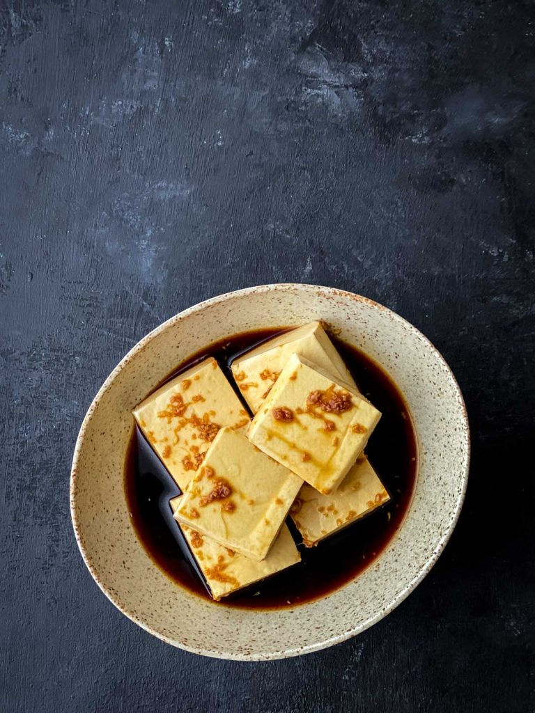 Sticky tofu in marinade
