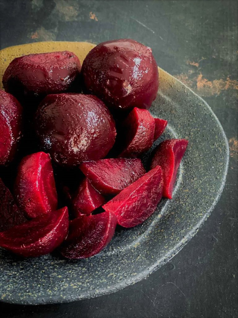 Baby beetroot. Whole and cut into wedges.