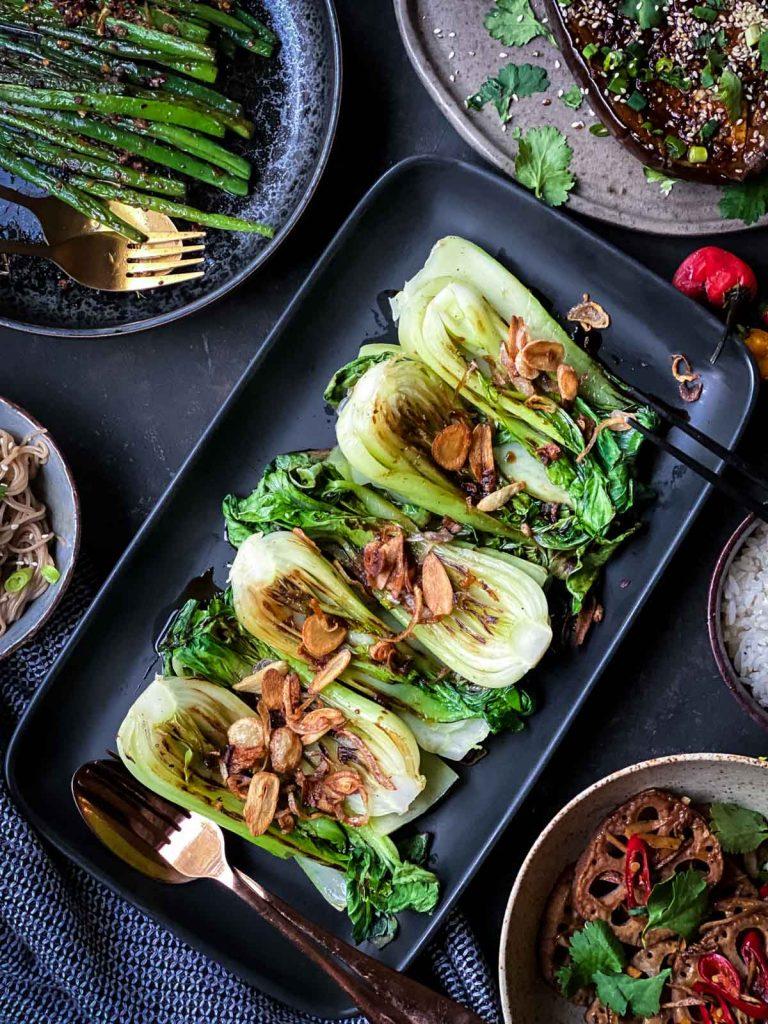 Grilled Bok Choy with Crispy Garlic