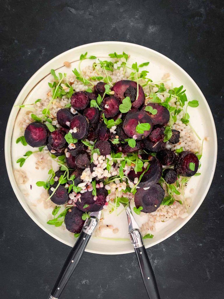 Miso Glazed Purple Carrot Salad and Barley