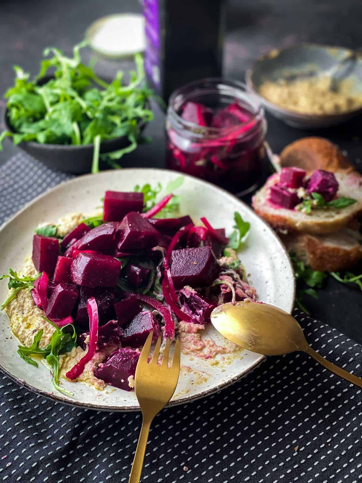 Pickled Beet Salad with Chickpea Mash