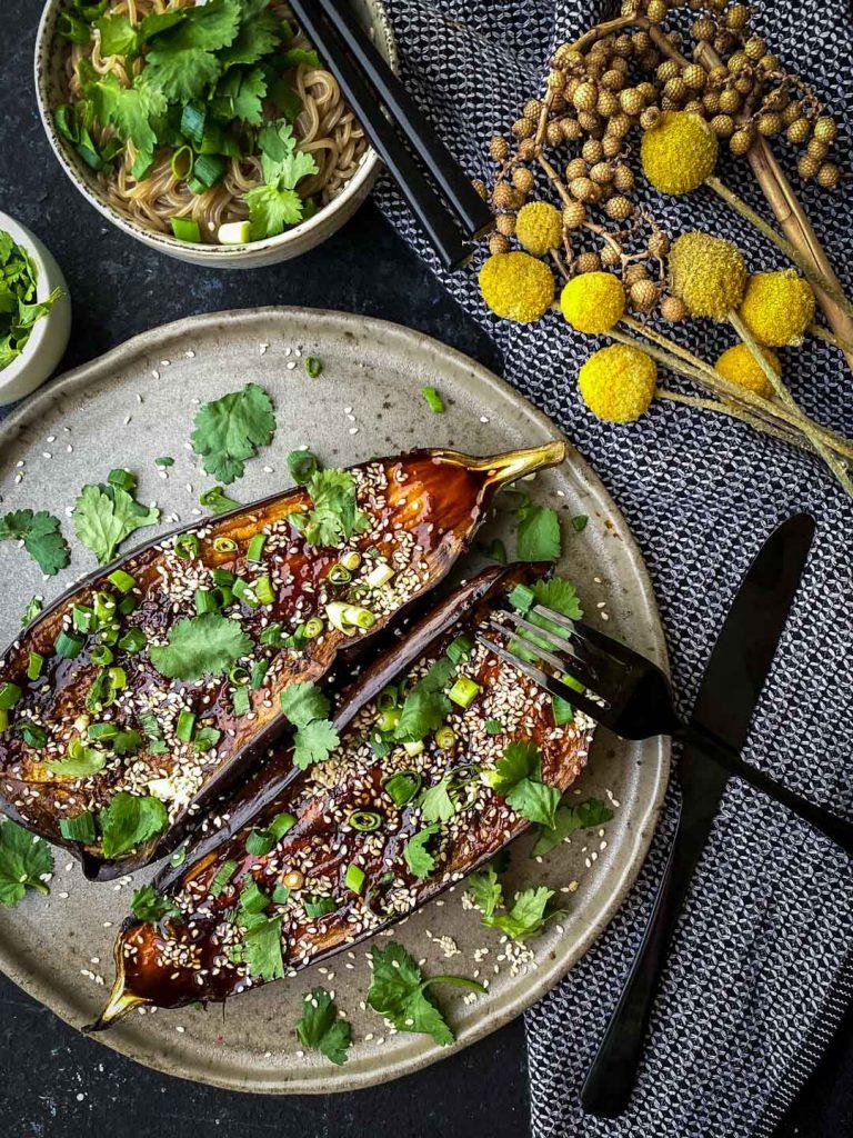 Roasted Asian Eggplant with Gochujang Glaze