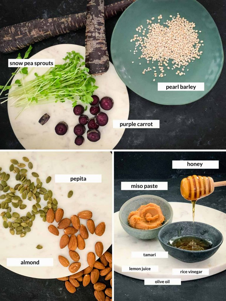 Miso Glazed Purple Carrot Salad and Barley Ingredients