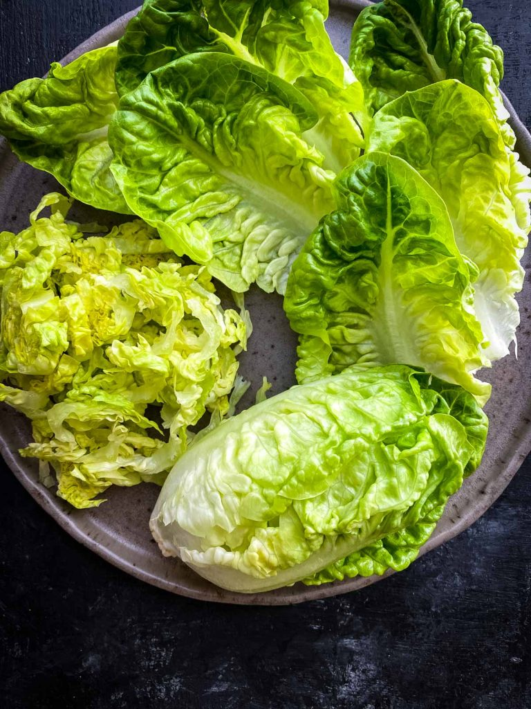 Cos lettuce whole, leaves and sliced