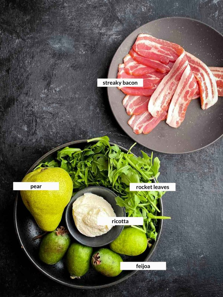 Roasted Feijoa Salad with Streaky Bacon Ingredients