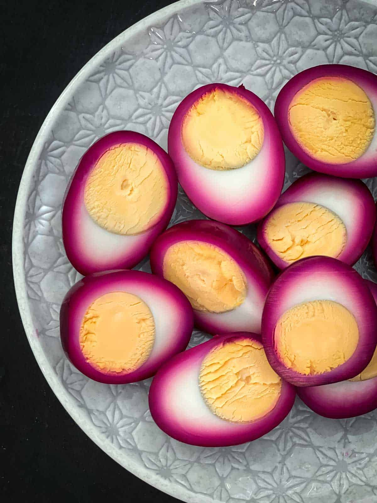 Pickled red beet eggs.